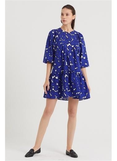 Never More Çiçek Desenli Elbise Mavi